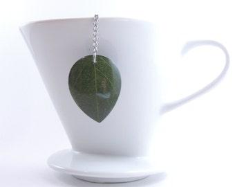 Loose Tea Infuser Tea Strainer Green Leaf Pendant