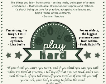 Play Hard - Athletes Quotes Collection Poster - Women