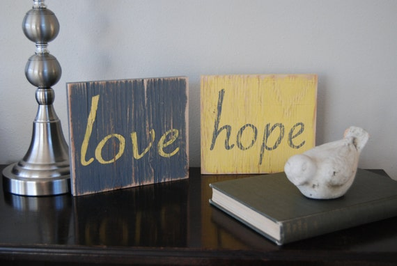 HOPE and LOVE Hand Painted Wooden Signs Yellow and Gray