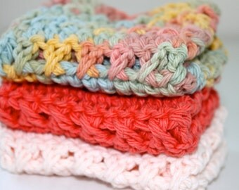 100% Cotton- Set of 3 Crochet Dishcloths - Desert Sun- Hostess/Wedding Gift- Ready to Ship