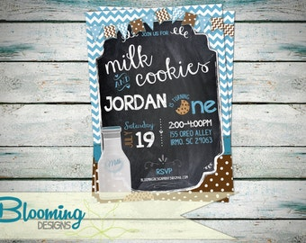 Milk and Cookies Birthday Party Invitation