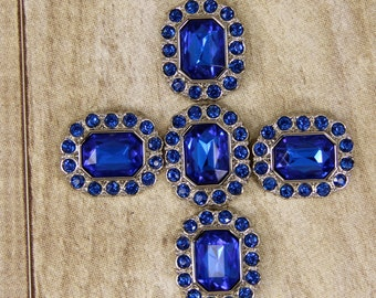 Sapphire Blue Rhinestone Buttons -10 Acrylic Rhinestone Buttons Surrounded by smaller same color blue rhinestones - 25mm