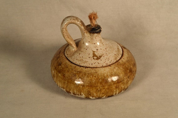Handmade Ceramic Oil Lamps : Stoneware oil lamp handmade hand crafted by