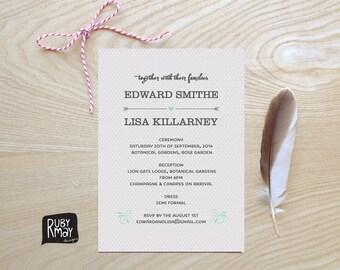 Polka Dot Wedding Invitation - digital or printed, modern wedding, polka dot, stylish wedding invite, spotted wedding invite, grey and white
