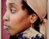 Large unique tye-dye fabric african boat shaped earrings