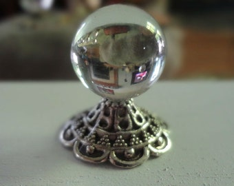 Miniature Crystal Ball with Ornate Silver Base-Inventory #139