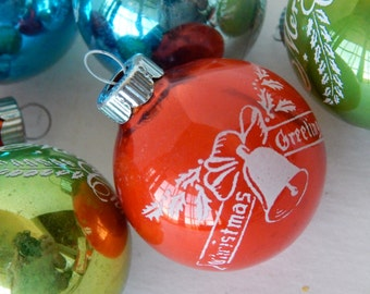 Shiny Brite Christmas Ornaments - Set of Six - Stenciled