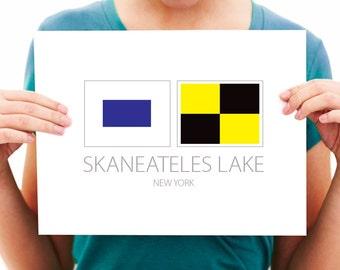 Skaneateles Lake - New York - Nautical Flag Art Print