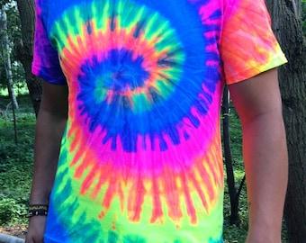 neon tie dye shirt, black light, psychedelic, festival, yoga, glow, swirl