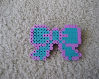 Purple and Teal Perler Bead Bow