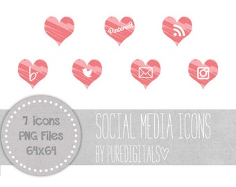 Pink Blog Buttons,Pink Social Media Icons, Hearts Social Media Buttons, Cute Social Media Buttons, Website Icons