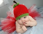 Custom Made to Order Handmade Crochet Baby Apple Hat and Tutu Set/Beanie/Costume/ Photography Prop/ Baby Hat/ JoellaCrochet