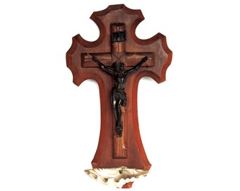 French Vintage Holy Water Font/ French Vintage Benitier/Vintage French Holy Water Font With Crucifix