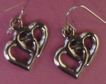 Silver Double (Cross Hearts) Heart Earrings