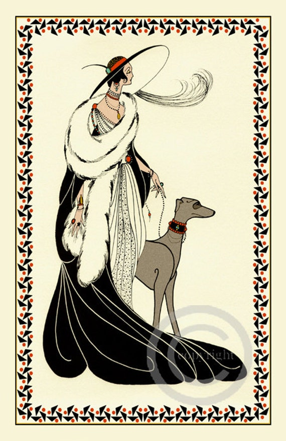Whimsical Art Deco Glamour Lady High Society In Gown Walking