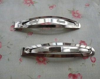 30pcs silver metal Snap Clip--metal hair snap clip--62x12mm--HA3007-30