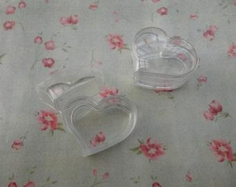 set of 10--mini clear plastic box--heart shape plastic box--plastic jewelry box--30x28x18mm--OC3029-10
