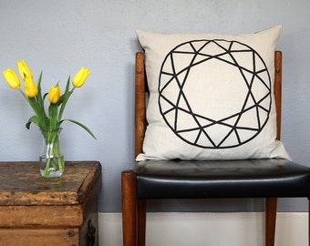 Natural Linen Faceted Round Gem Pillow
