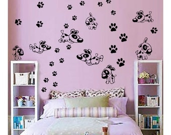 Puppies And Paws Wall Decals // sticker nursery art baby // kids room decor // child  DA06