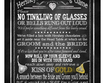 Hershey Kisses Game - No Tinkling of Glasses - FIVE sizes - instant download digital file - Rustic Collection