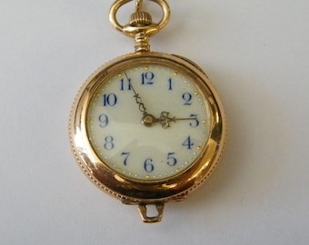 Vintage 14K Solid Gold Ladies Pocket Watch