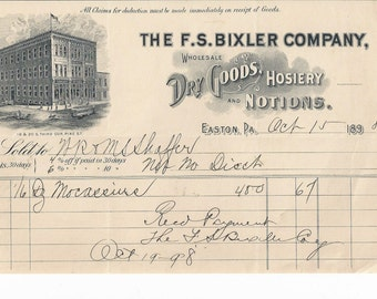F S Bixler Co. Easton, PA  Wholesale Dry Goods, Hosiery and Notions 1898 Invoice