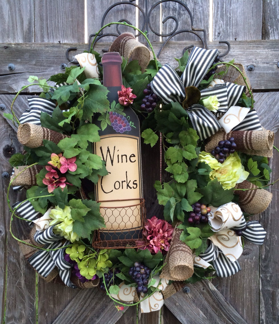 Cork Wreath: Everyday Wreath All Season Wreath Wine Decor Vineyard Wine