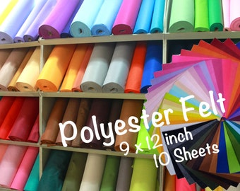 10 pieces|9x12' Polyester Felt Sheet Pack|140 colors|1mm|W|SW|1-138