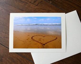 Love Heart/ Beach Birthday Card/ Heart Wedding card, Beach acceptance card, engagement Note Card
