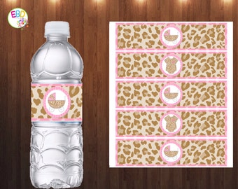 Pinky Leopard Baby Shower Water Bottle Labels