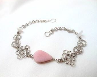 Pink Rose Quartz Teardrop Alpaca Silver Diamonds Bracelet Peruvian Jewelry - Handmade in Peru