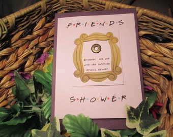 Shower for a Friend bridal shower invitation hand made metal peep hole