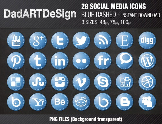 28 Circle social media icons blue with dashed borders