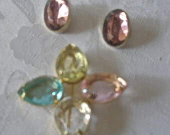 Vintage Colorful Glass Crystal brooch/pin and Earrings