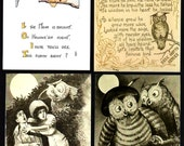 Lot of 8 Vintage OWL Postcards, many humorous, all in excellent condition