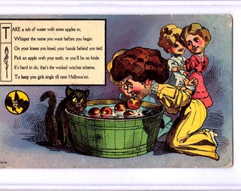 Vintage HALLOWEEN POSTCARD, Girls and Black Cat Bobbing for Apples