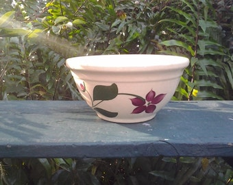 Watt Pottery Starflower motif, with Advertisement, Yellow ware bowl, 1950s, rare, collectable, unique, Complements of Roseland Hatchery