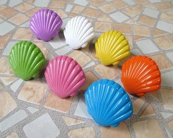Shell Cabinet Knobs / Kids Dresser Knobs / Childrens Drawer Knobs Pulls Handles Nautical Hardware Blue Yellow Green White Orange Purple Pink