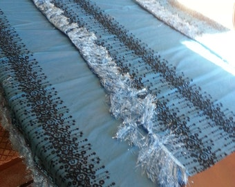 Blue and black table cloth