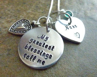Mother's Day My greatest blessings call me Nana Necklace Personalized Necklace Grandma Mother Aunt Necklace