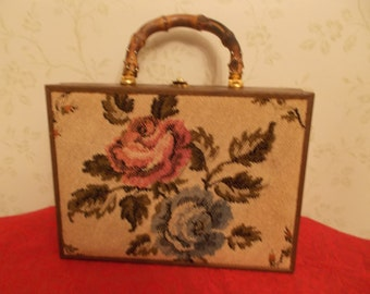 Vintage Wood Purse w/ Tapestry on Front Side