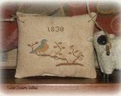 Primitive Cross Stitch Cupboard Hanger, Folk Art Bird