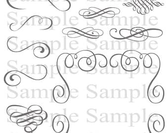 Items similar to Beautiful flourishes, Digital Swirls, Swirl Clip ...