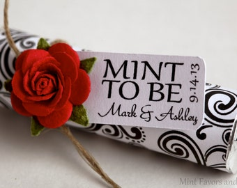 Red roses with custom tags reading MINT TO BE, favor tags, red rose embellishments, christmas red