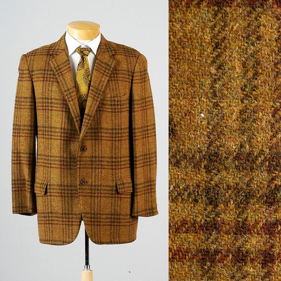 Mens Vintage 60s Abercrombie and Fitch Gold Green Wool Tweed Windowpane Sportcoat Jacket Blazer