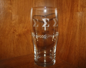 Custom Etched Glass College Sorority/Fraternity Glass
