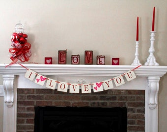I Love You Banner Valentine Banner Valentine's Day Banner Valentine Garland Love Banner