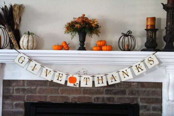 Decorating Ideas > Give Thanks Banner Thanksgiving Banner By OneTinyHeart On Etsy ~ 070224_Thanksgiving Decorations On Etsy