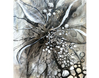 Comtemporary wall art , black and white Mixed media abstract flower drawing