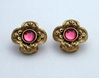 Vintage Gold Tone Clip On Earrings, Pink Rhinestone